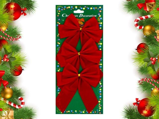 Новогодний декор Бант  3 шт. 13см текстиль Красные Miland НУ-4452