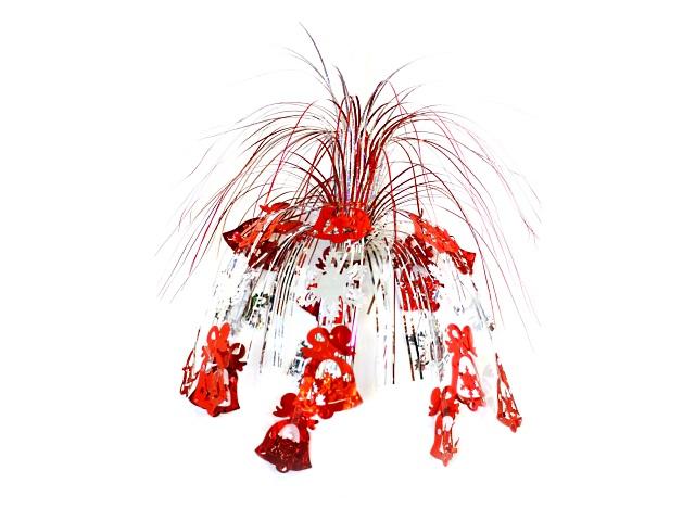 Новогодний декор фольга 50см Колокольчики и снежинки красные НУ-9983