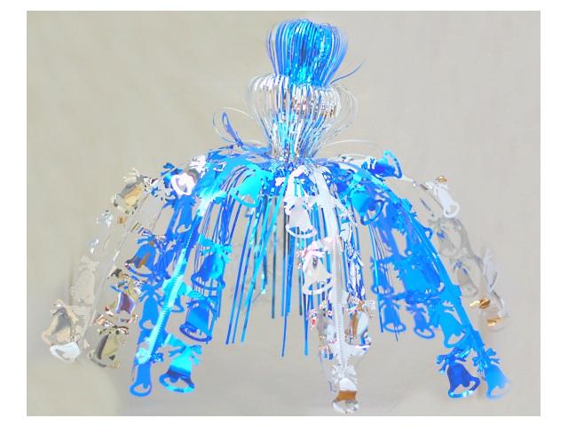 Новогодний декор фольга 50см Колокольчики синие Miland НУ-9982