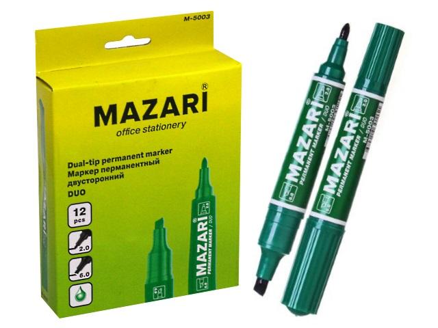 Маркер перманентный Mazari Duo зеленый 2-6мм двухсторонний М-5003