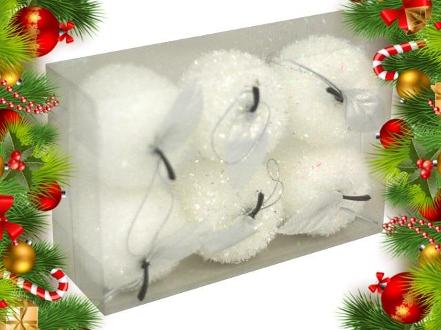 Ёлочная игрушка набор  6шт Яблоки белые 6 см 190712-30