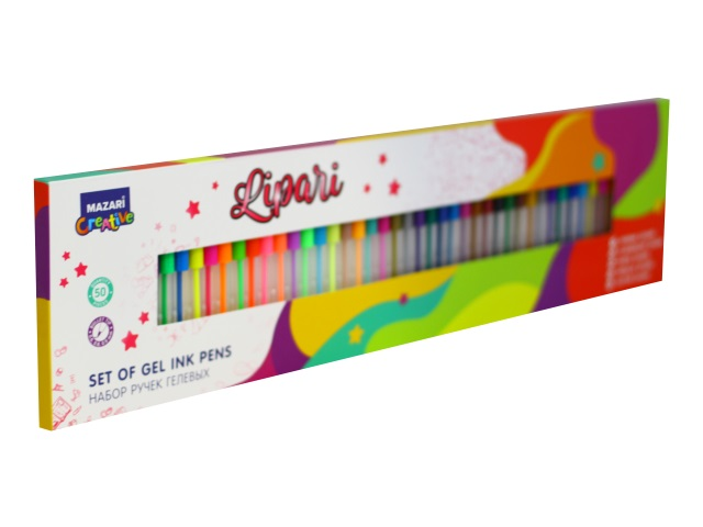 Ручка гелевая набор 50цв Mazari Lipari 0.6-0.9мм M-5510-50