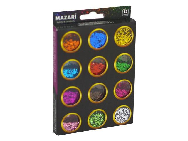 Блестки 12 шт. по 4г Mazari M-4473