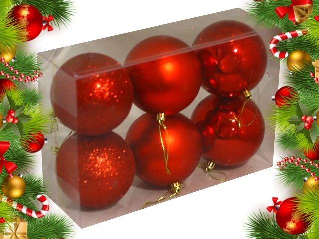 Ёлочная игрушка набор  6 шт. Шар D=10см Рождественская сказка красные Miland НУ-0408