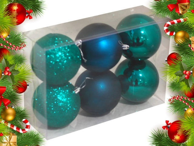 Ёлочная игрушка набор  6 шт. Шар D=10см Рождественская сказка сине-зеленые НУ-0410