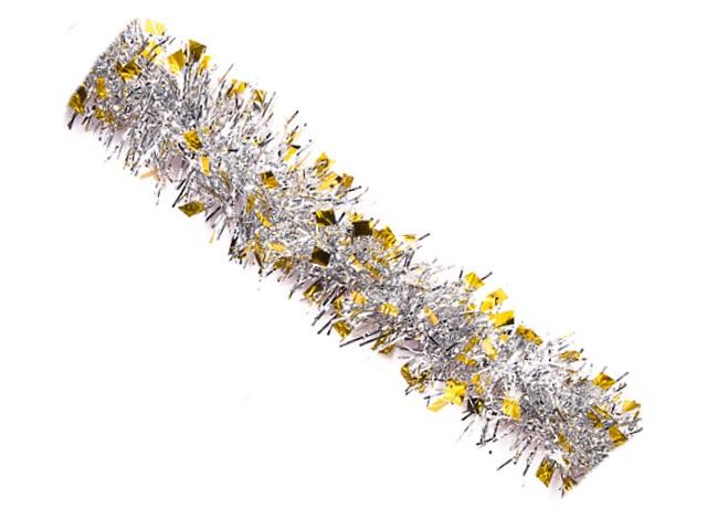 Мишура 200см D=5см Иней серебряная золотые кончики Miland НУ-4842