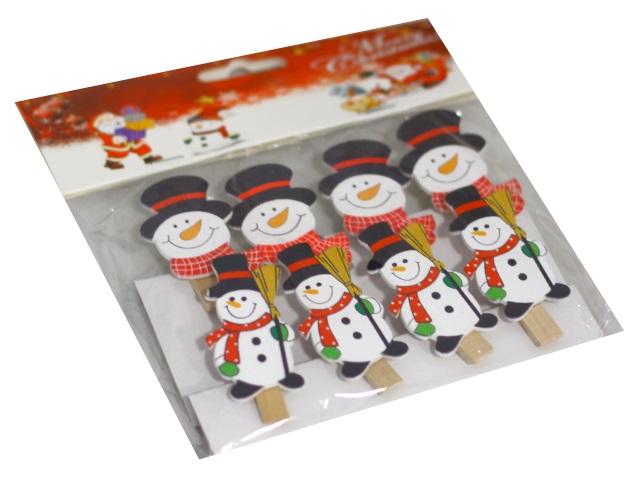 Новогодний декор Прищепки дерево 8 шт Веселый снеговик 5.5см Miland НУ-4541