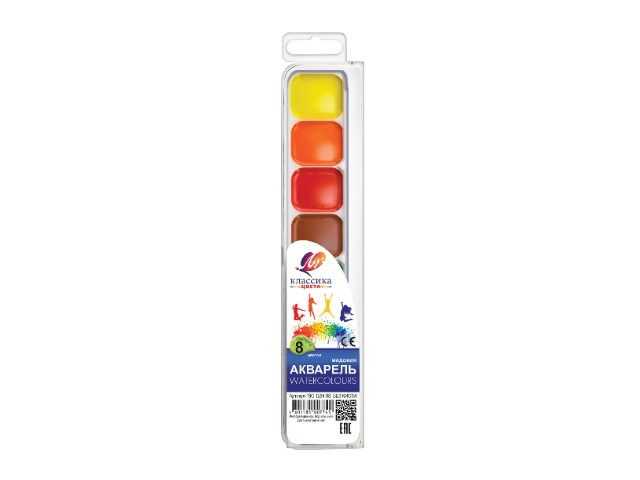 Краски  8 цветов акварель медовая Классика Луч 19С 1284-08