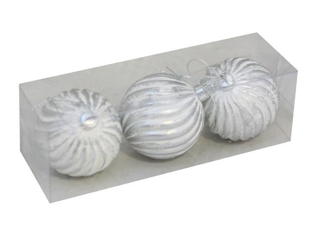 Ёлочная игрушка набор  3шт Шар D= 8см Снежные полосы серебро Miland НУ-1262