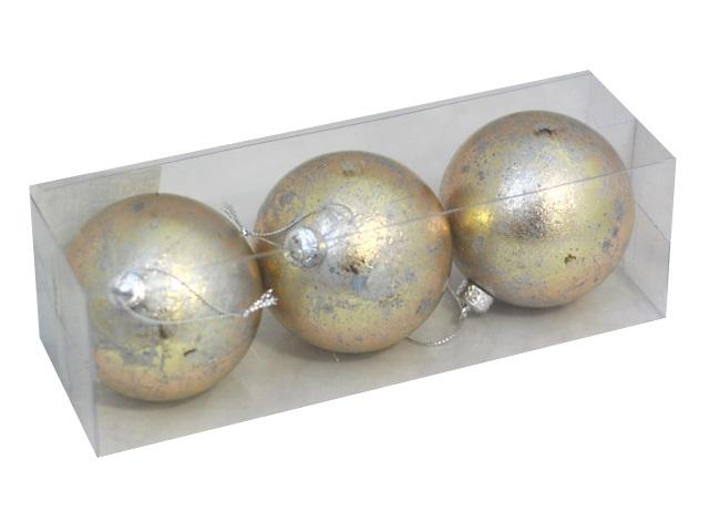 Ёлочная игрушка набор  3шт Шар D=8см Звёздная пыль бронза Miland НУ-1275