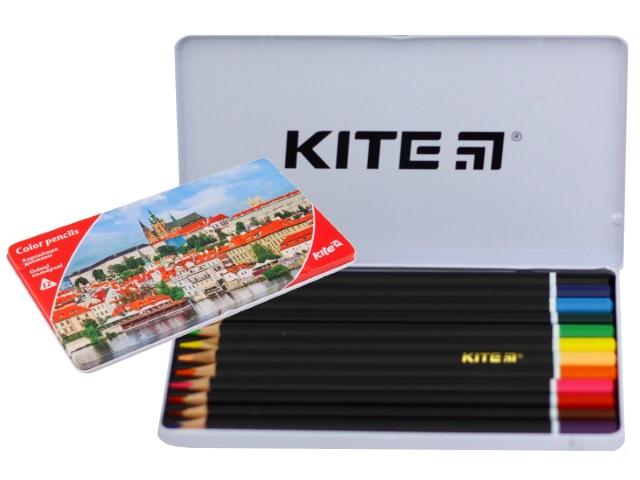 Карандаши цветные 12цв Kite Города трехгранные в железной коробке K17-058-2