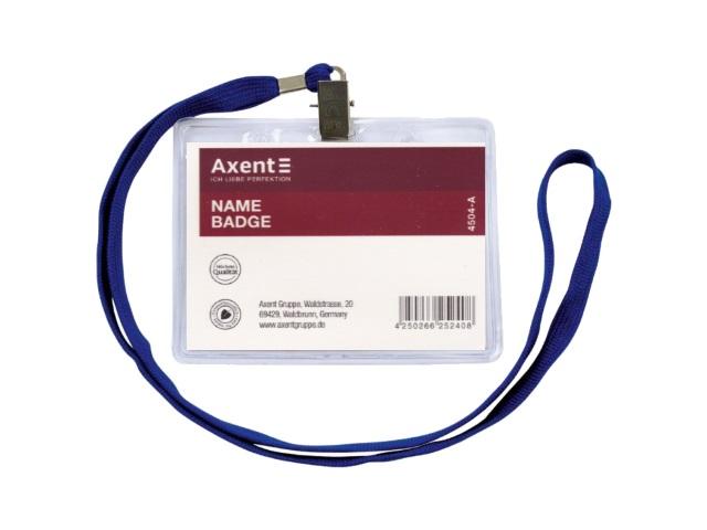 Бейдж на шнурке  70*100 мм горизонтальный прозрачный Axent 4504-A