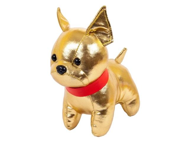 Мягкая игрушка Металлик Собака Французский бульдог золотистый 15см ABToys М2126