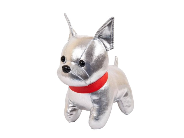 Мягкая игрушка Металлик Собака Французский бульдог серебристый 15см ABToys М2125