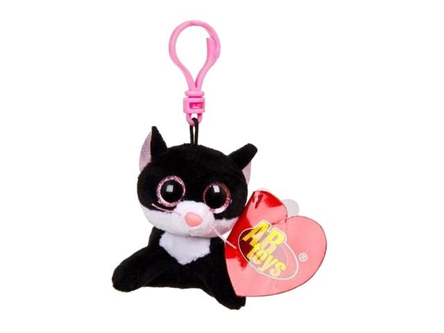 Брелок мягкая игрушка Котенок черный 8см ABToys M0015