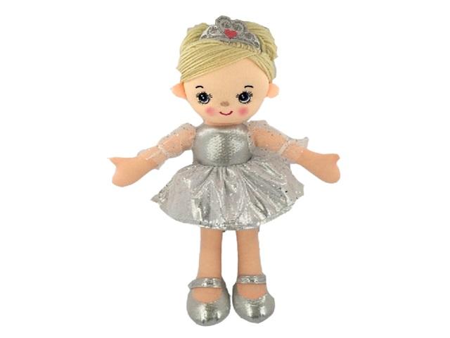 Кукла мягкая 30см Балерина серебристая ABToys M6003
