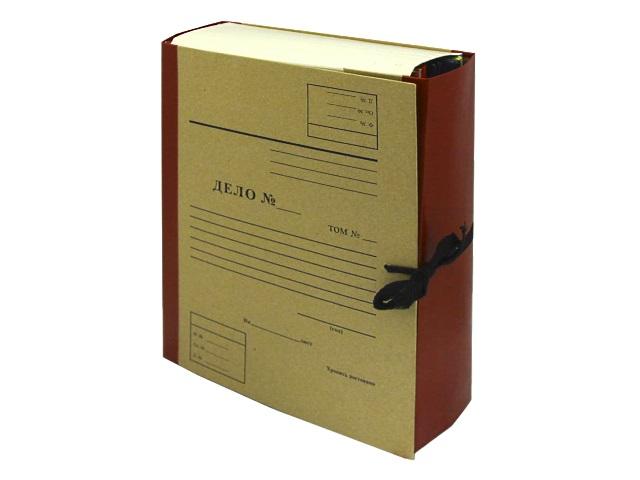 Папка архивная бумвинил на завязках А4  5см Имидж крафт бордовая А4КББ5Д-209