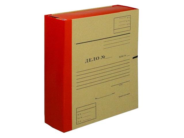 Папка архивная бумвинил на завязках А4  8см Имидж крафт красная А4КББ8Д-201