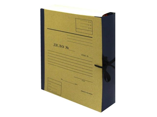 Папка архивная бумвинил на завязках А4  8см Имидж крафт синяя А4КББ8Д-203