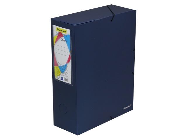 Папка архивная пластик на резинке А4 10см Silwerhof Perlen синяя 311915-74
