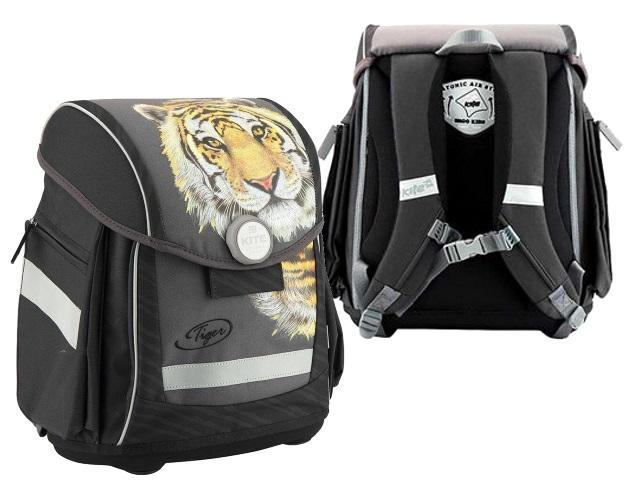 Ранец школьный Kite Тигр 34*29*13см черный с замком K18-578S-2