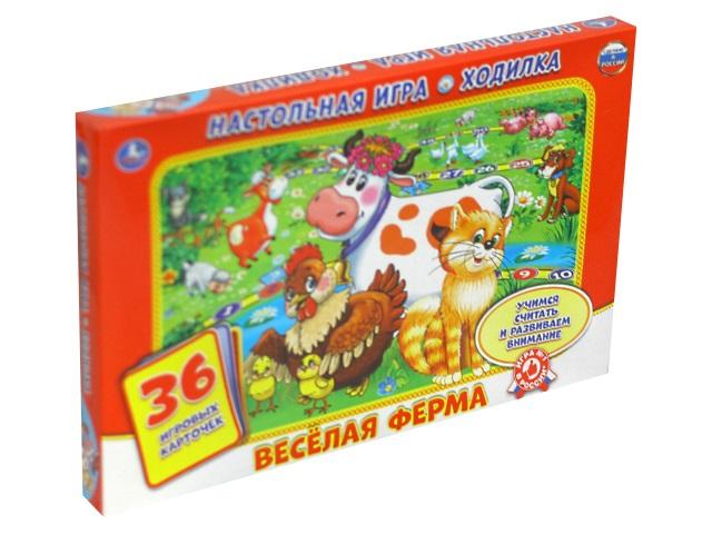 Настольная игра-ходилка Веселая ферма 36 карточек Умка