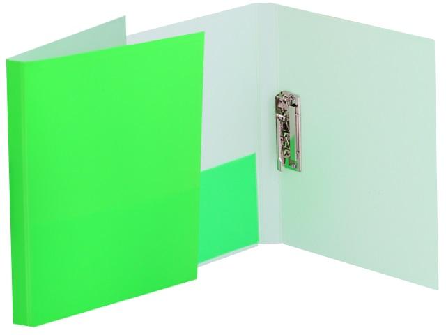 Папка с зажимом и карманом А4 Бюрократ Double Neon 0.7мм салатовая DNE07Сlett