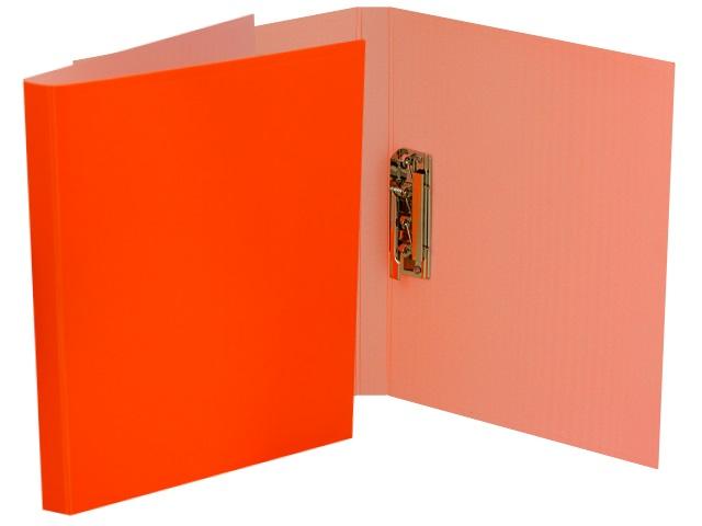 Папка с зажимом и карманом А4 Бюрократ Double Neon 0.7мм оранжевая DNE07Сor