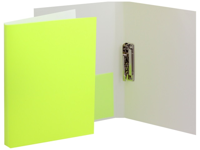 Папка с зажимом и карманом А4 Бюрократ Double Neon 0.7мм желтая DNE07Сyel