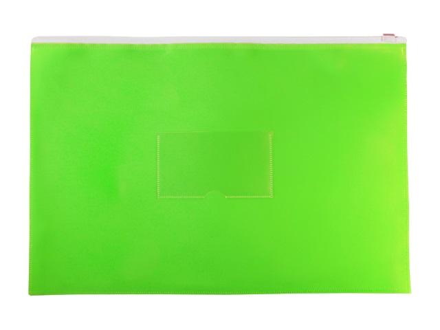 Папка на бегунке А4 Бюрократ Double Neon с карманом салатовая DNEBPM4Alett