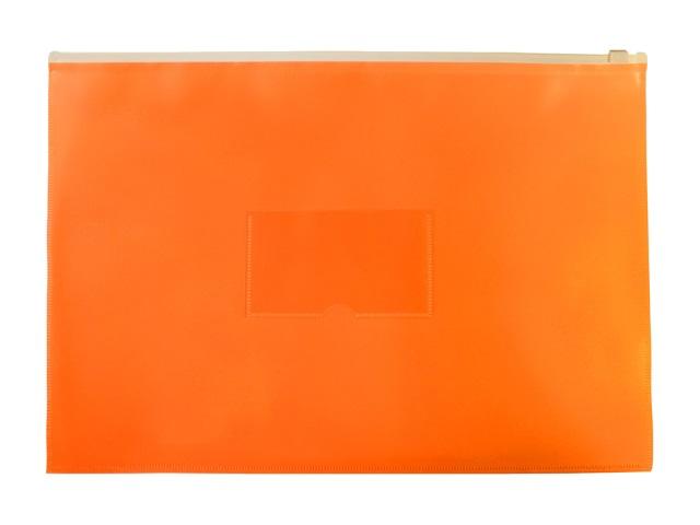 Папка на бегунке А4 Бюрократ Double Neon с карманом оранжевая DNEBPM4Aor