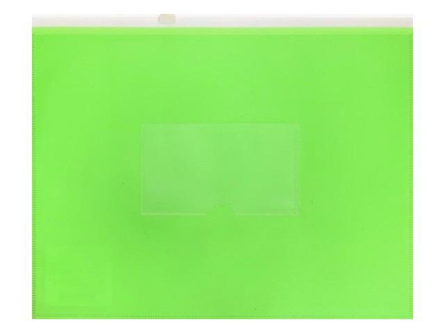 Папка на бегунке А5 Бюрократ Double Neon с карманом салатовая DNEBPM5Alett