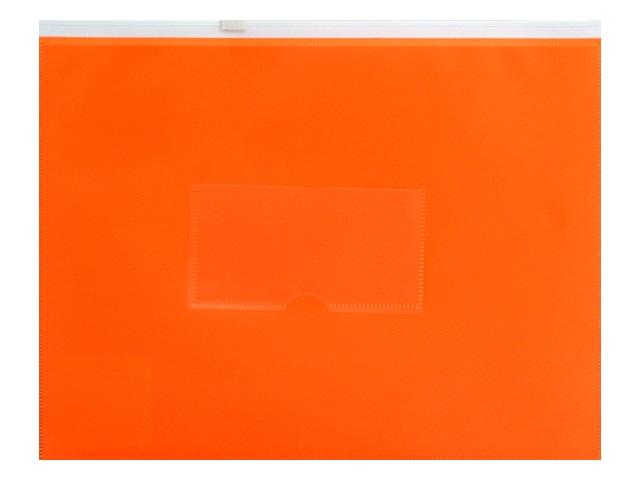 Папка на бегунке А5 Бюрократ Double Neon с карманом оранжевая DNEBPM5Aor