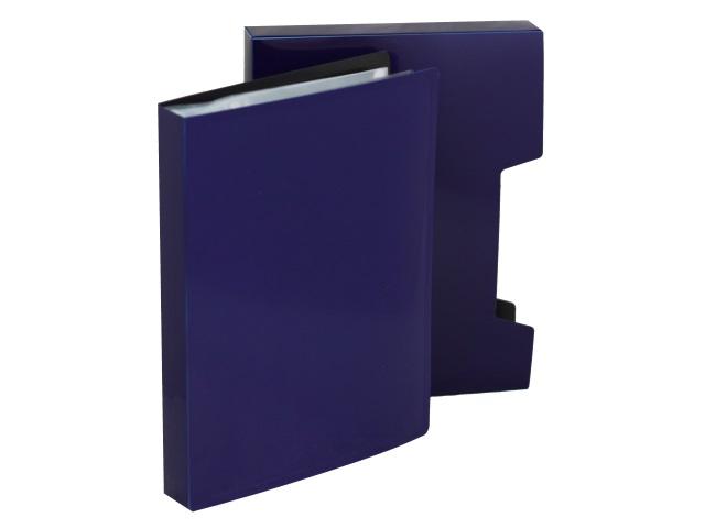 Папка с файлами  80ф А4 Бюрократ DeLuxe 0.7мм в коробе черничная DLVBOX80bberry