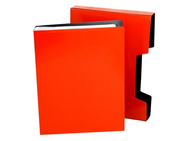 Папка с файлами  80ф А4 Бюрократ DeLuxe в коробе красная 0.7мм DLVBOX80red