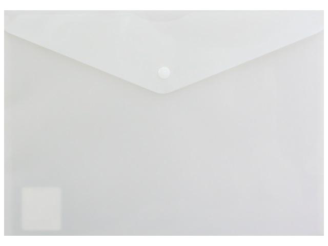 Папка конверт на кнопке А4 Бюрократ DeLuxe молочная 180мкм DL801milk