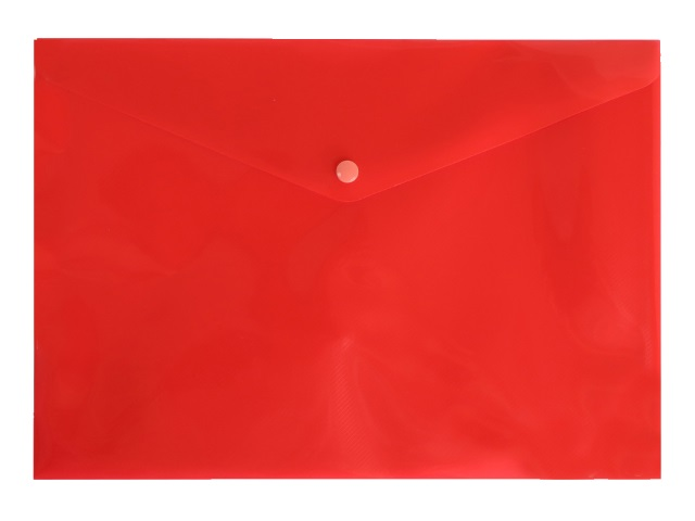 Папка конверт на кнопке А4 Бюрократ DeLuxe красная 180мкм DL801red