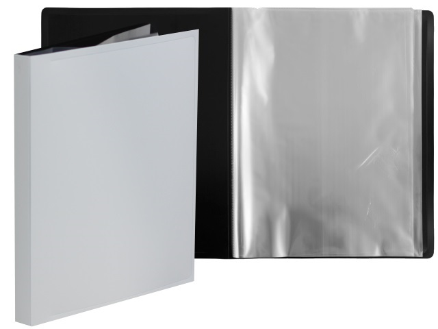 Папка с файлами  20ф А4 Бюрократ BlackWhite черно-белая 0.8мм BWBPV20wt