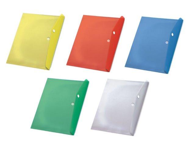 Папка конверт на кнопке А4 Бюрократ цветная прозрачная 180мкм рк860
