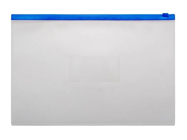 Папка на бегунке А4 Бюрократ с карманом синяя 150мкм BPM4Ablue