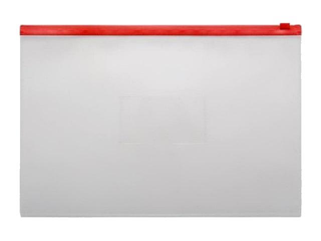 Папка на бегунке А4 Бюрократ с карманом красная 150мкм BPM4Ared