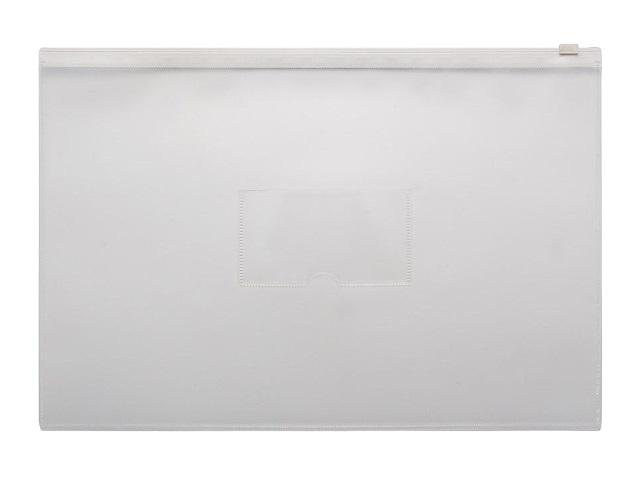 Папка на бегунке А4 Бюрократ с карманом белая 150мкм BPM4AWT