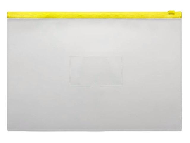 Папка на бегунке А4 Бюрократ с карманом желтая 150мкм BPM4Ayel\12