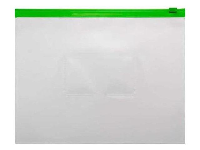 Папка на бегунке А5 Бюрократ с карманом зеленая 150мкм BPM5Agrn\12