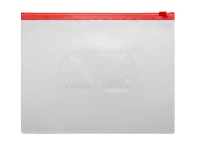 Папка на бегунке А5 Бюрократ с карманом красная 150мкм BPM5ARED\12