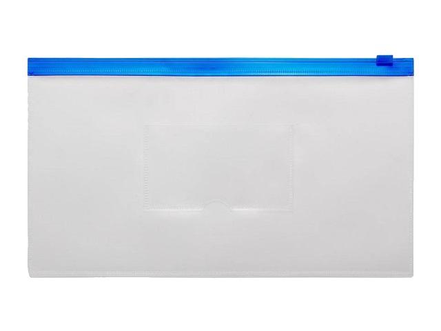 Папка на бегунке А6 Бюрократ Travel с карманом синяя 150мкм BPM6Ablue