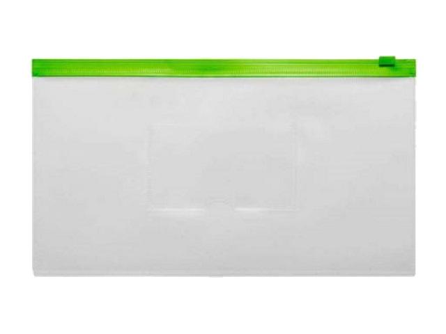 Папка на бегунке А6 Бюрократ Travel с карманом зеленая 150мкм BPM6Agrn\12