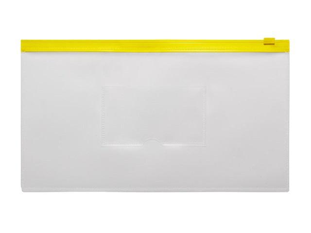 Папка на бегунке А6 Бюрократ Travel с карманом желтая 150мкм BPM6Ayel\12