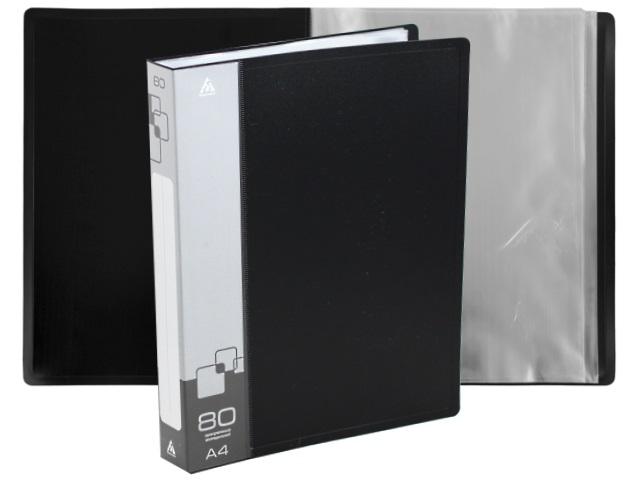 Папка с файлами  80ф А4 Бюрократ 0.8мм черная BPV80blck