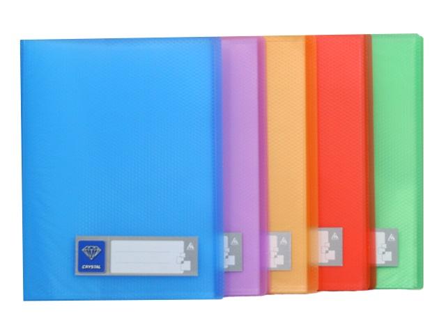 Папка с файлами  20ф А4 Бюрократ Crystal 0.5мм цветная CR20